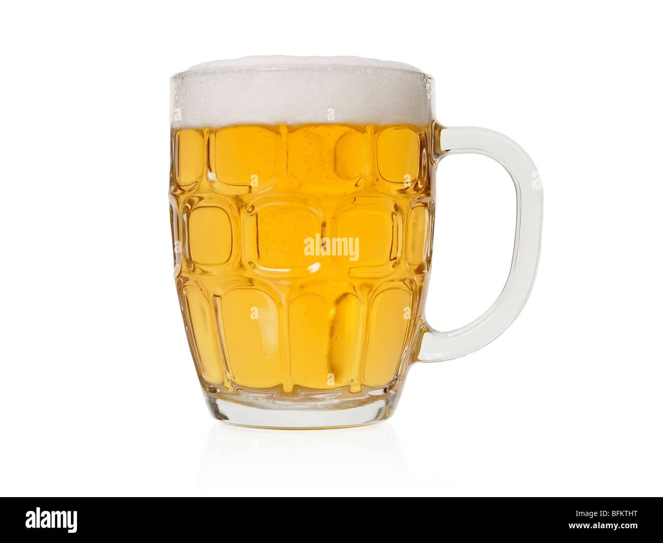 Bicchiere Di Birra Servita In Un Tradizionale Inglese Pinta Di Vetro