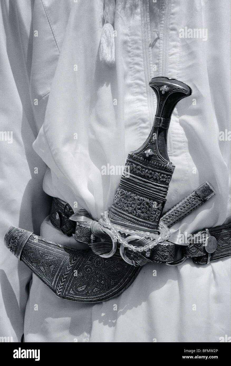 Oman. Dettaglio di un' ammenda khanjar o motivi decorativi pugnale portato da Omani uomini. Immagini Stock