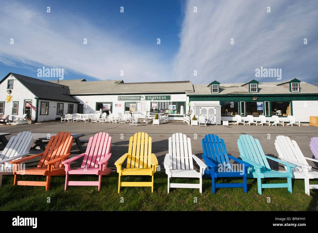 Stati Uniti d'America, Massachussets, Cape Cod, colorate sedie a sdraio Immagini Stock