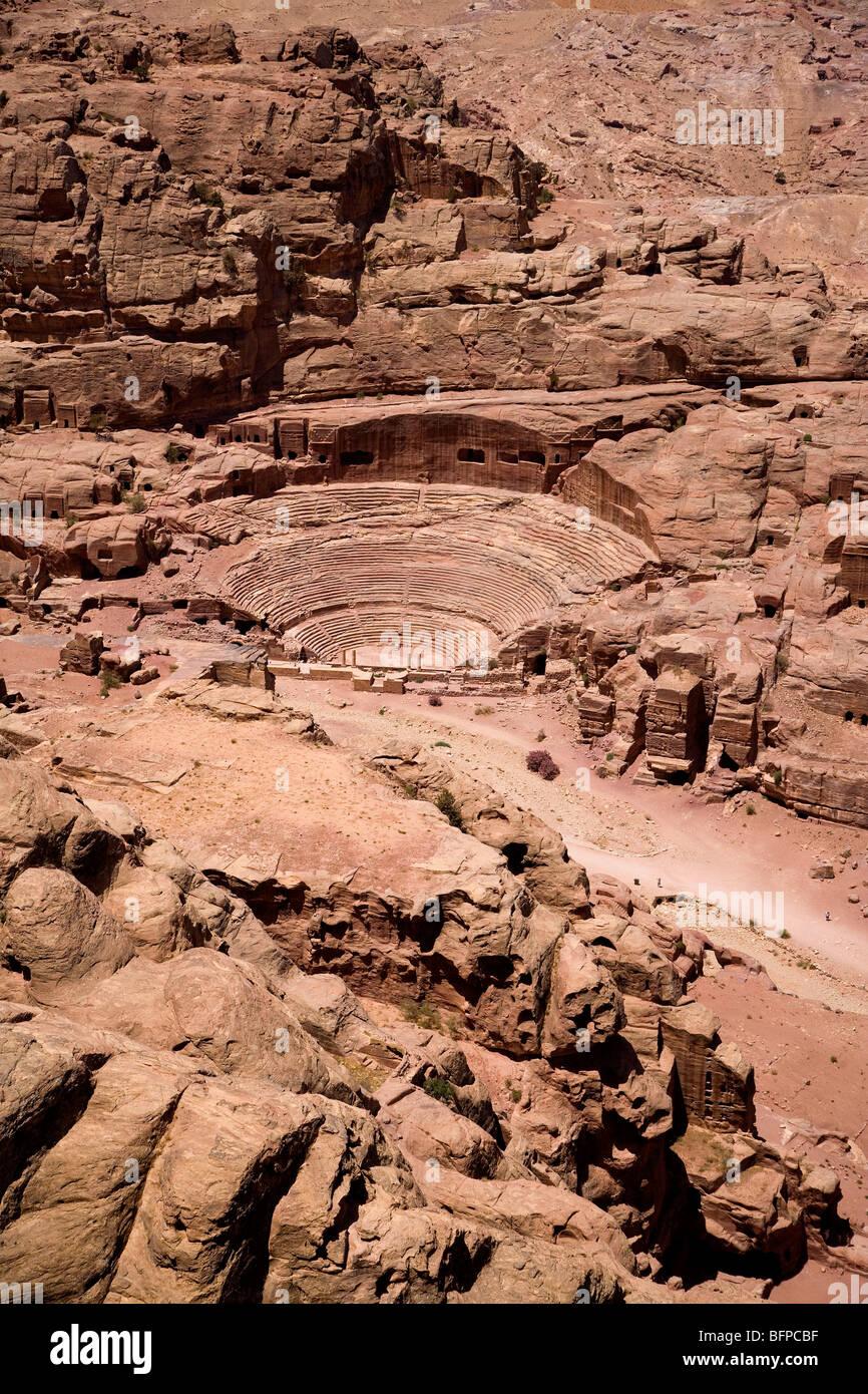 Anfiteatro romano, Petra, Giordania, Medio Oriente, Asia Immagini Stock