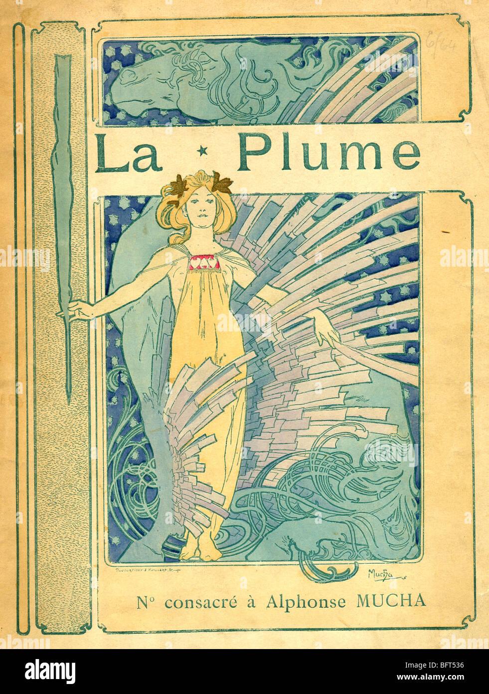 Coperchio per La Plume Alphonse Mucha et son Oeuvre Immagini Stock