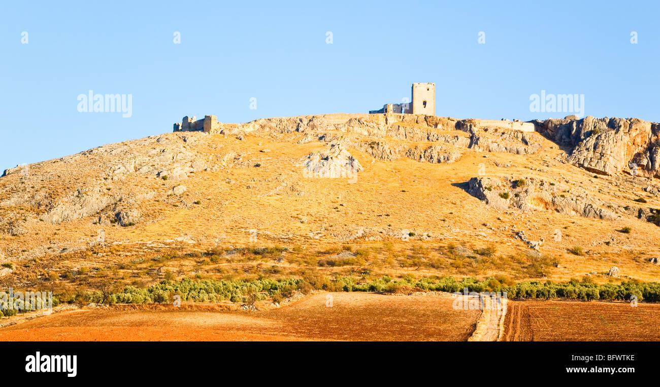 Teba, provincia di Malaga, Spagna. Castello di stella. Castillo de la Estrella. Immagini Stock
