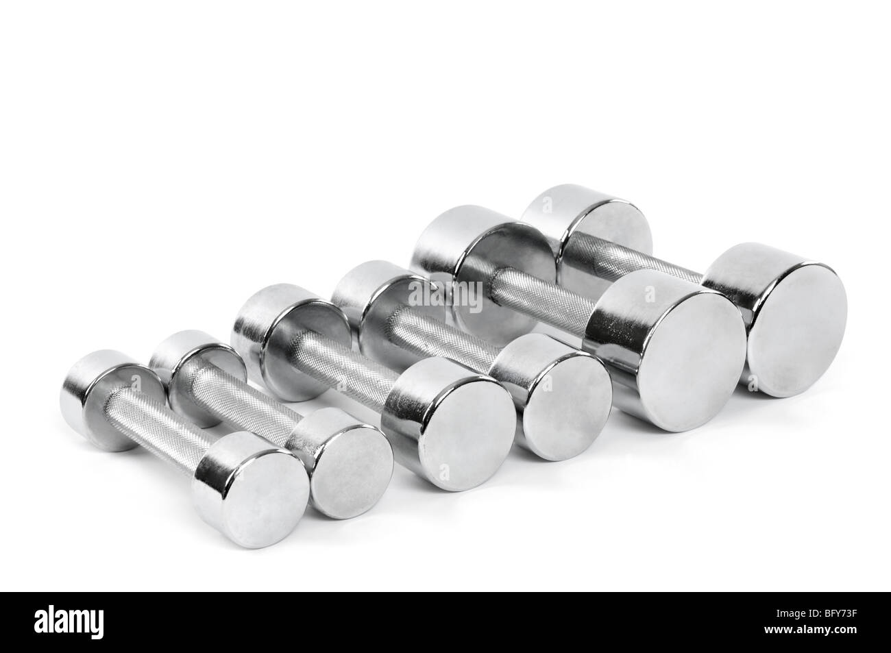 Set di cromo brillante manubri isolati su sfondo bianco Immagini Stock
