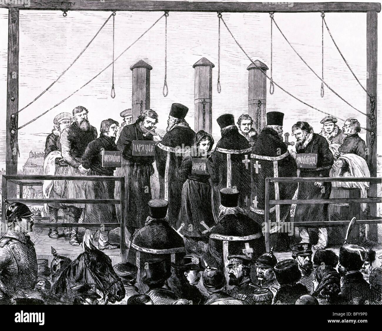 ASSASINATION DI ALESSANDRO II di Russia Marzo 1881. Cinque degli assassini erano stati impiccati, altri inviati Immagini Stock