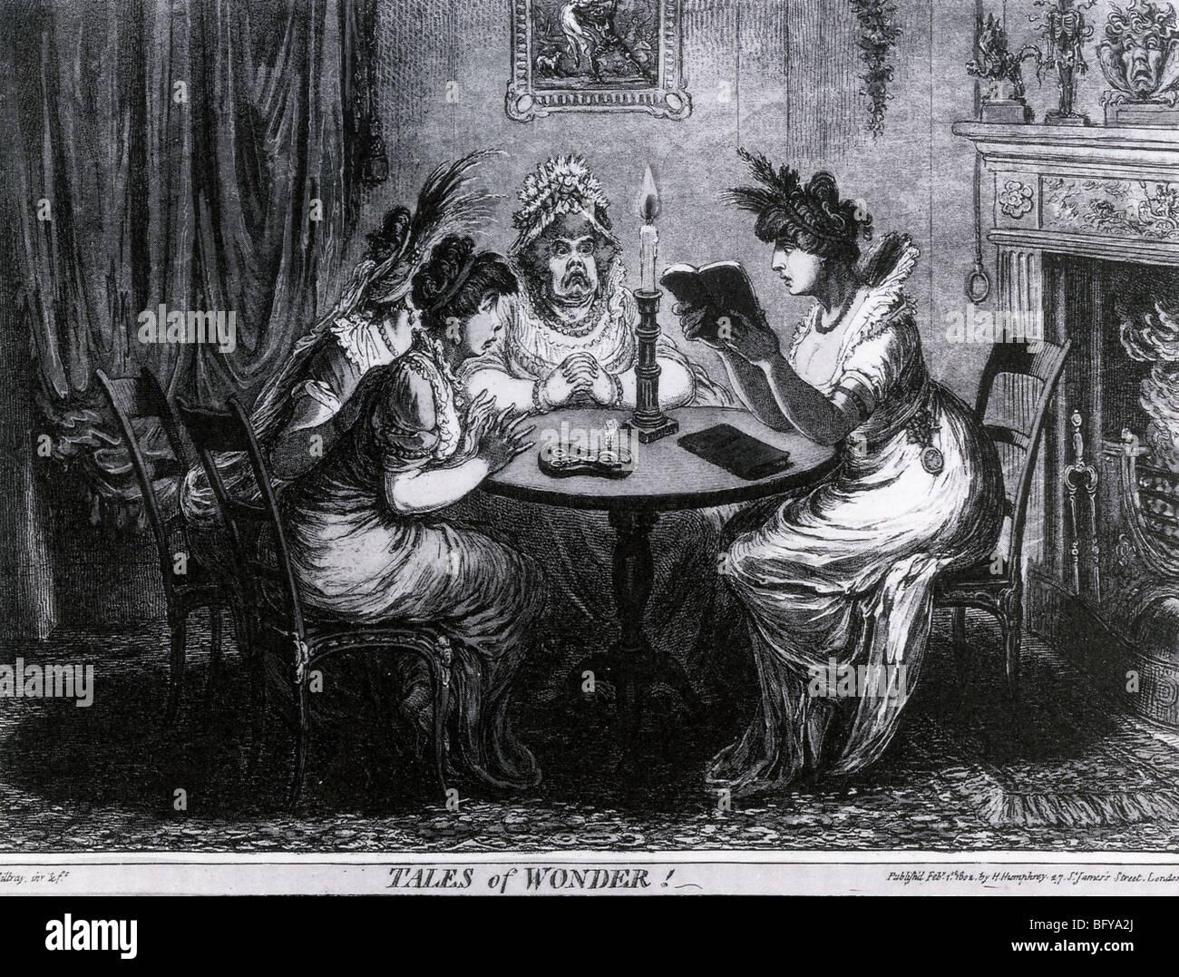 La lettura di un romanzo gotico - cartoon di Gillray intitolato Tales of Wonder. Vedere la descrizione seguente. Immagini Stock