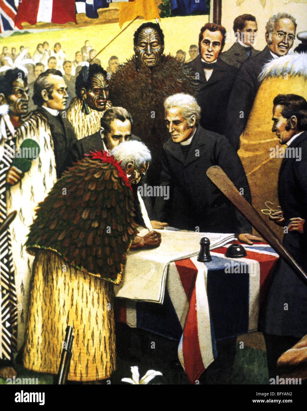 Trattato di Waitangi è firmato dai capi Maori in 1840 ceading Nuova Zelanda per la corona britannica Immagini Stock