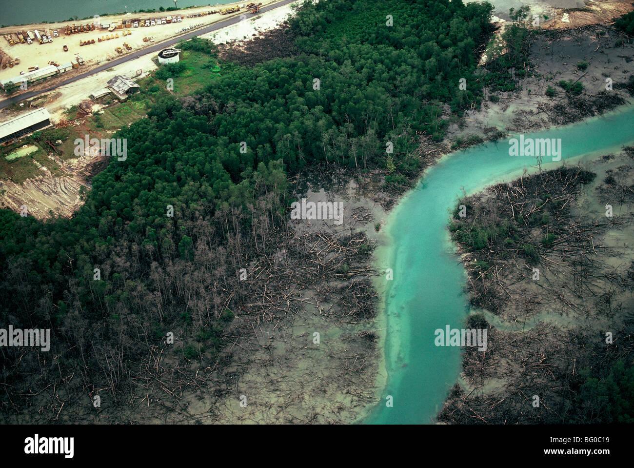 Inquinamento nel Kalimantan, isola del Borneo, Indonesia, Asia sud-orientale, Asia Immagini Stock