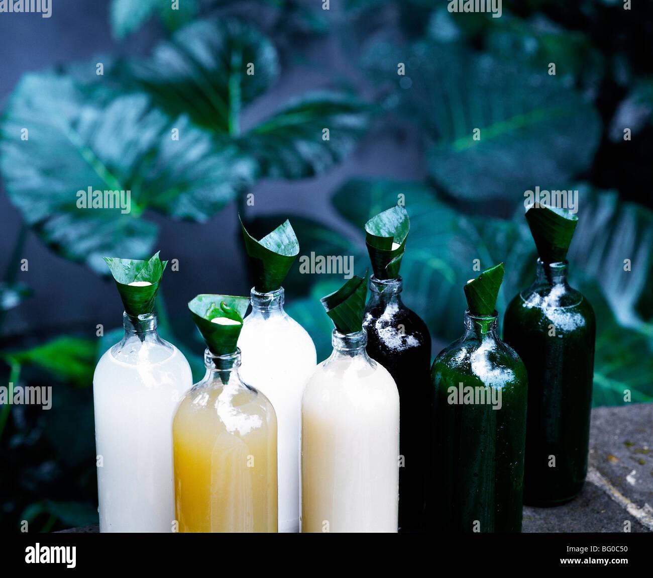 Bottiglie di Jamu, un tradizionale indonesiano tonico a base di erbe, Indonesia, Asia sud-orientale, Asia Immagini Stock