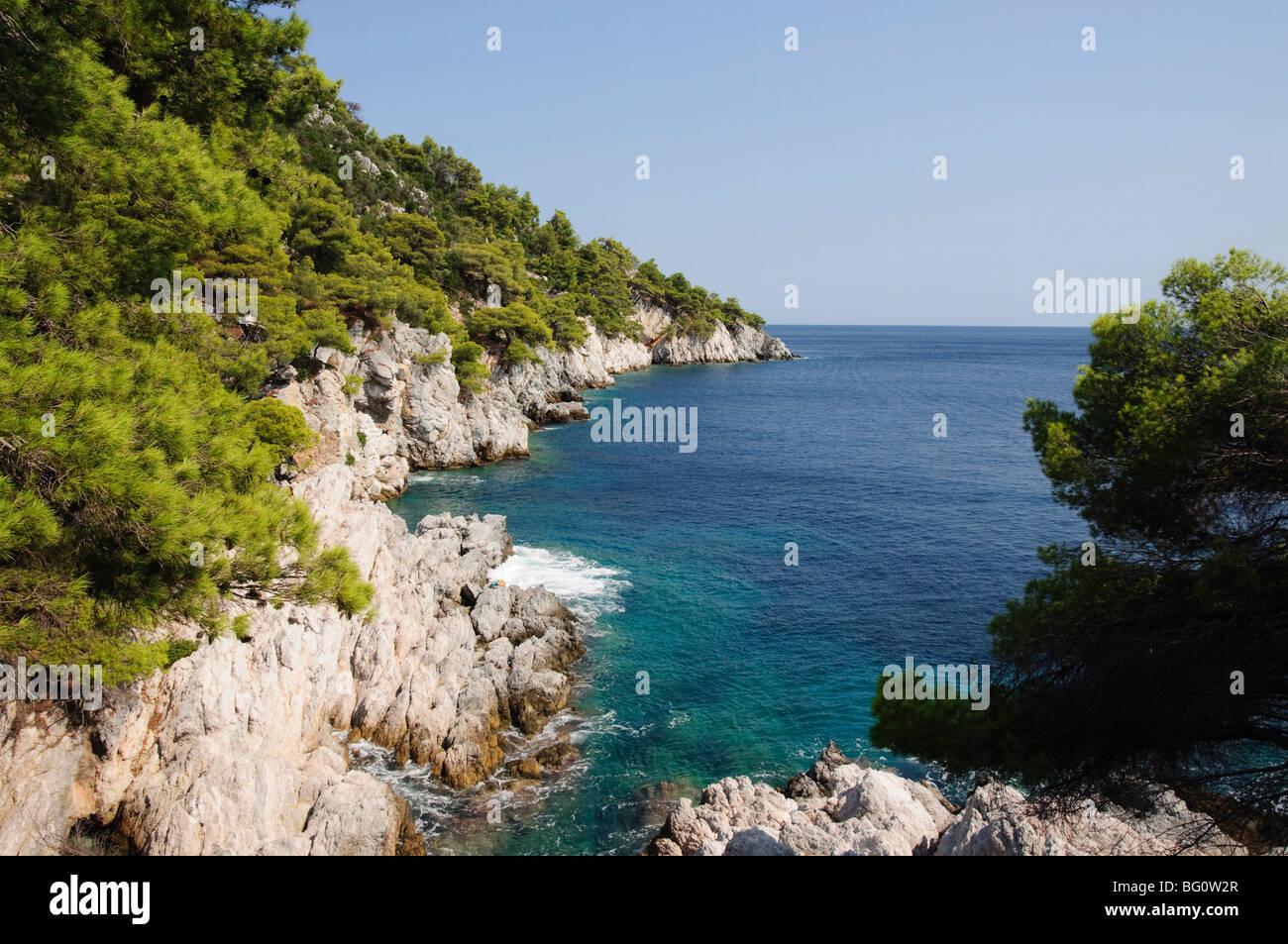 Vicino Agnotas, Skopelos, Isole Sporadi, isole greche, Grecia, Europa Immagini Stock