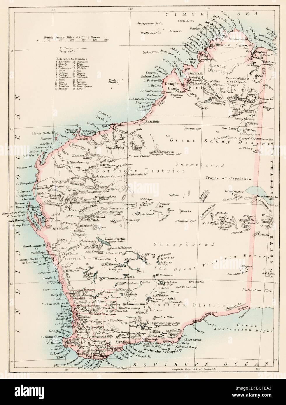 Mappa di Western Australia, 1870s. Litografia a colori Immagini Stock