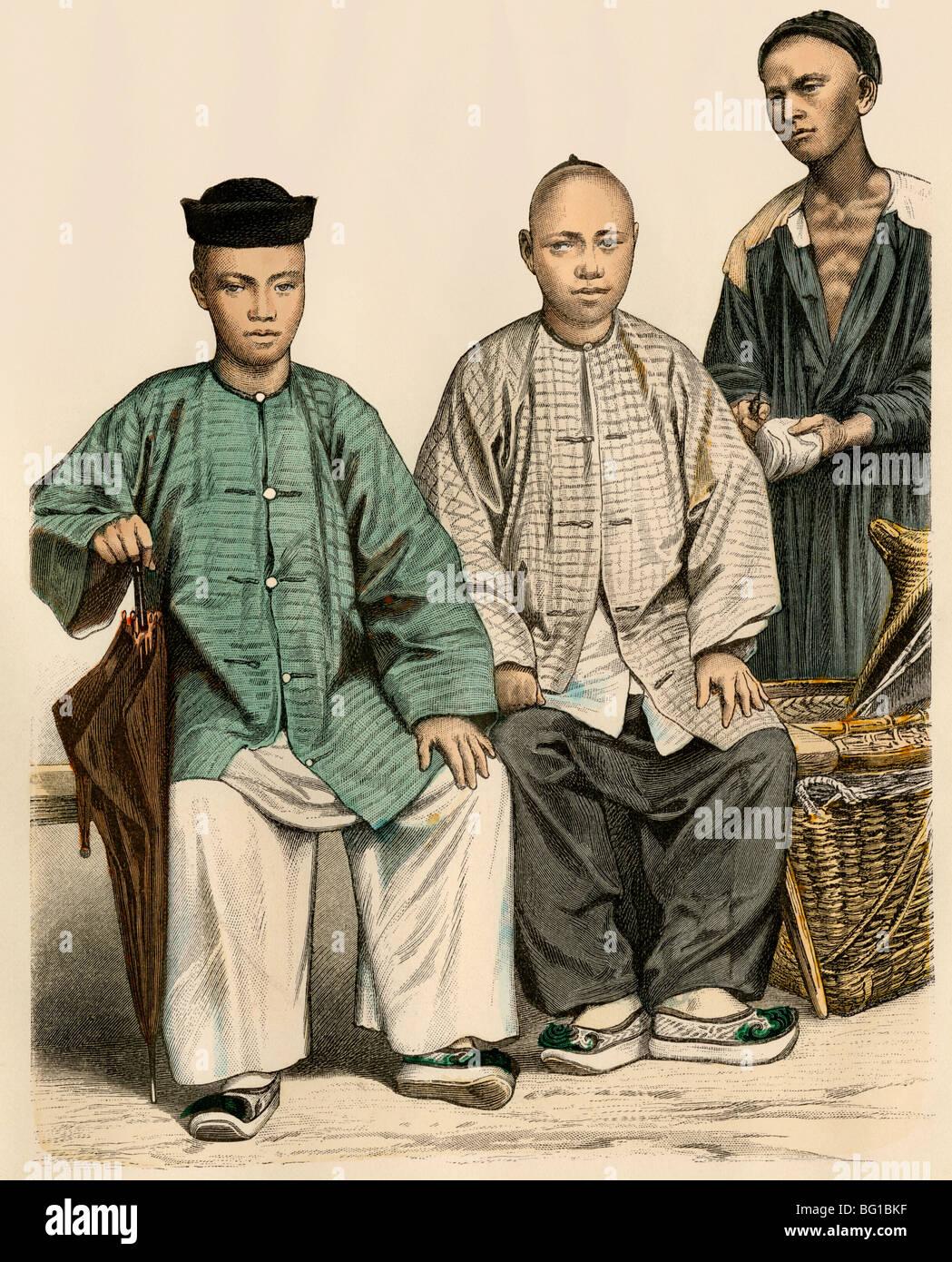 Operatori commerciali cinesi dal Straits e da Singapore (a destra), 1800s. Colorate a mano la stampa Immagini Stock