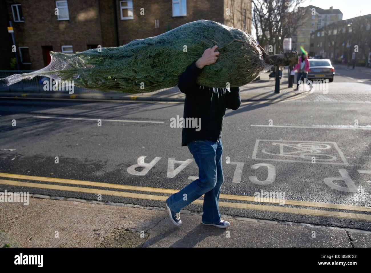 Un uomo che ha comprato un albero di Natale presso la columbia road flower market a Londra Foto Stock