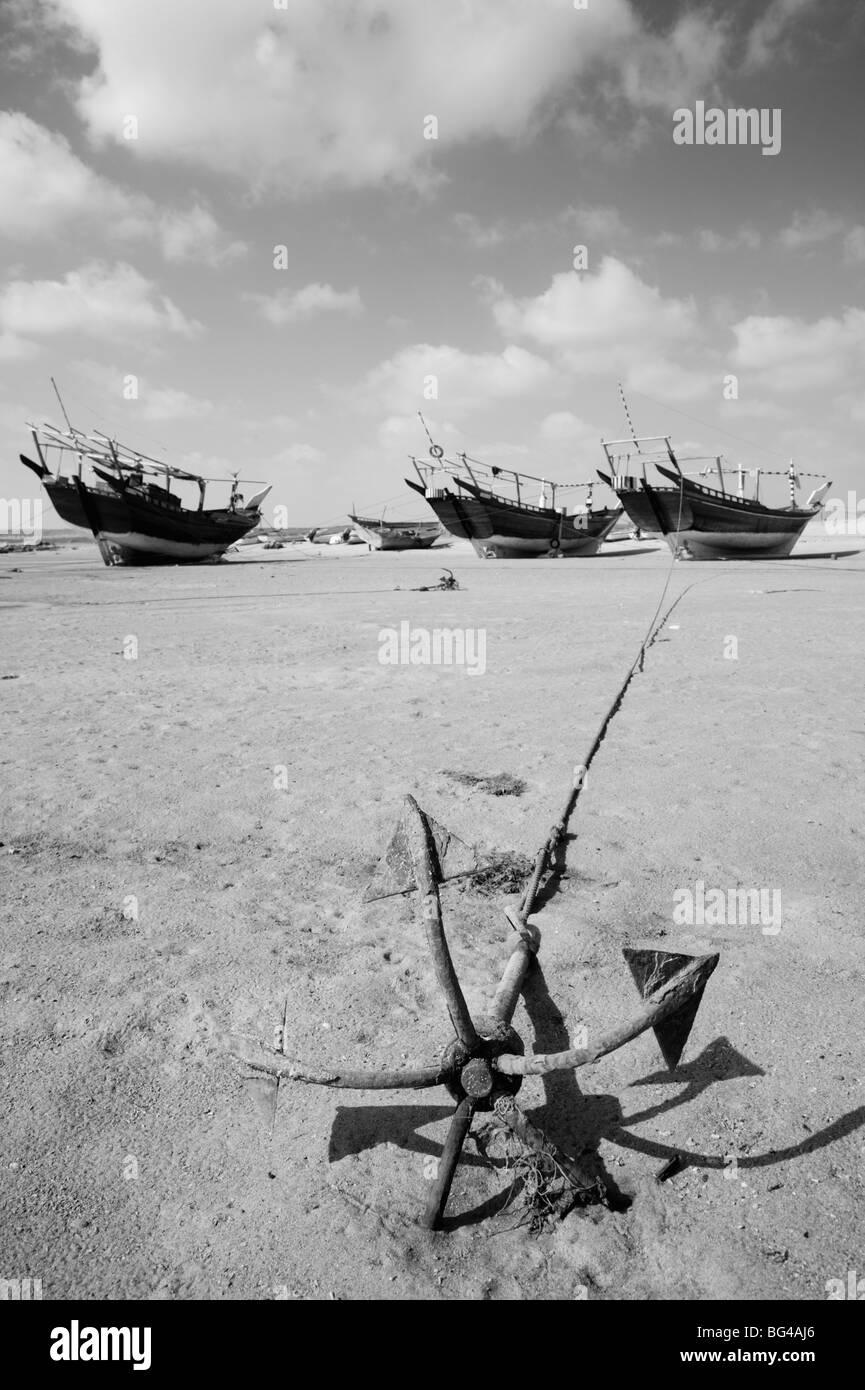 Oman, Sharqiya Regione, Ras Al Hadd, Ras Al Hadd porto Dhow Immagini Stock
