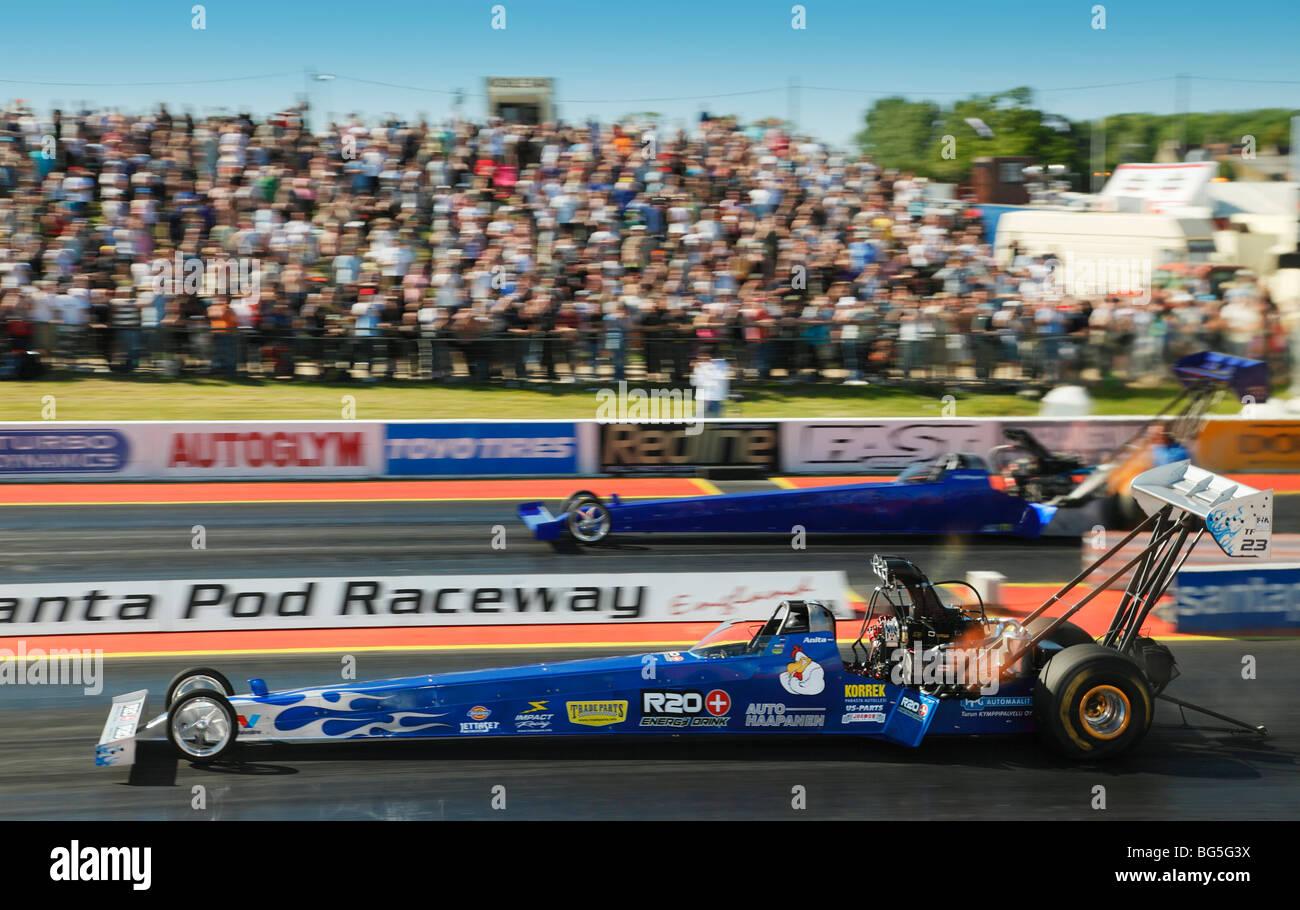 Top Fuel Dragsters a Santa Pod Raceway England Regno Unito. Immagini Stock