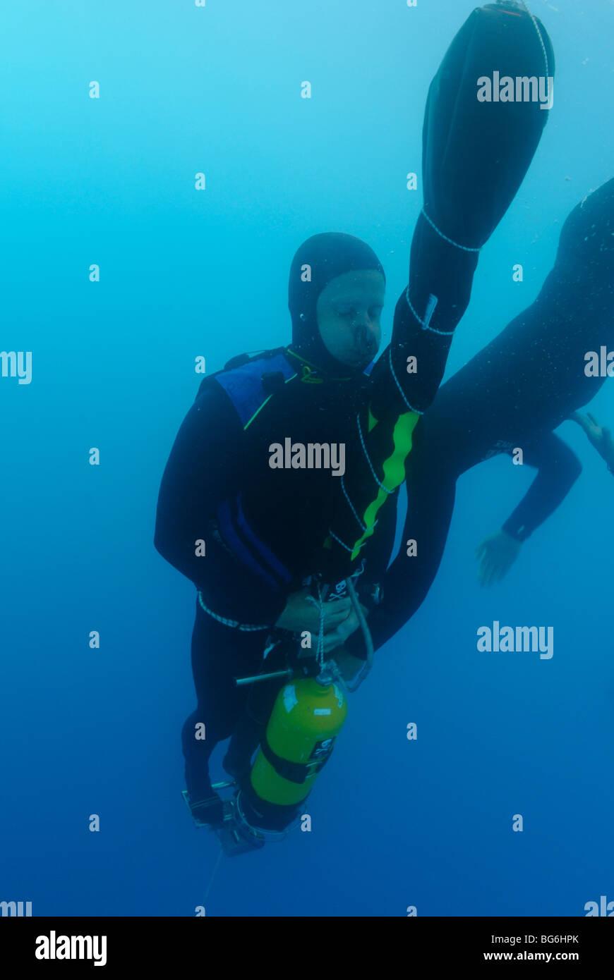 Un apneista andando giù in nessun limite di immersione in apnea, off Monaco Immagini Stock