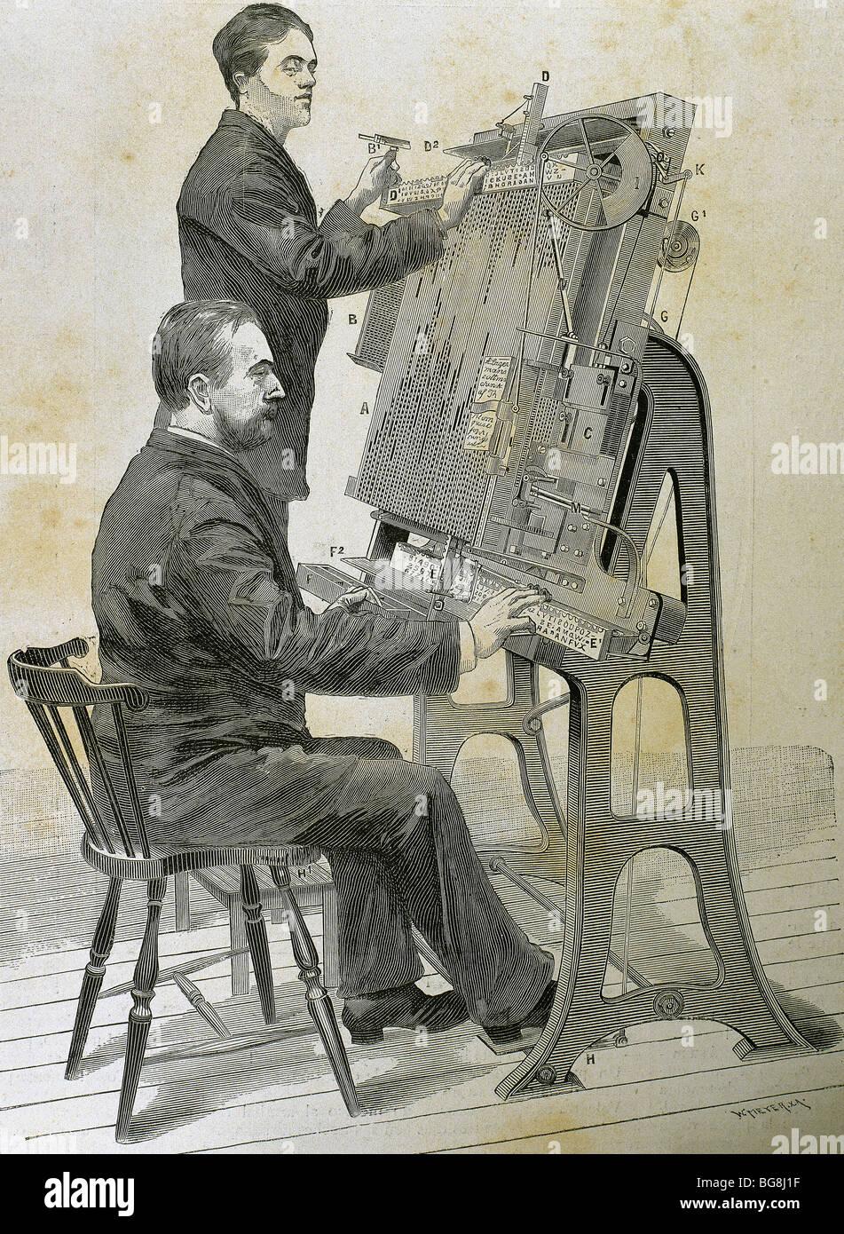 """La composizione tipografica nuova macchina. Incisione di W. Meyer per """"illustrazione artistica"""", 1885. Immagini Stock"""