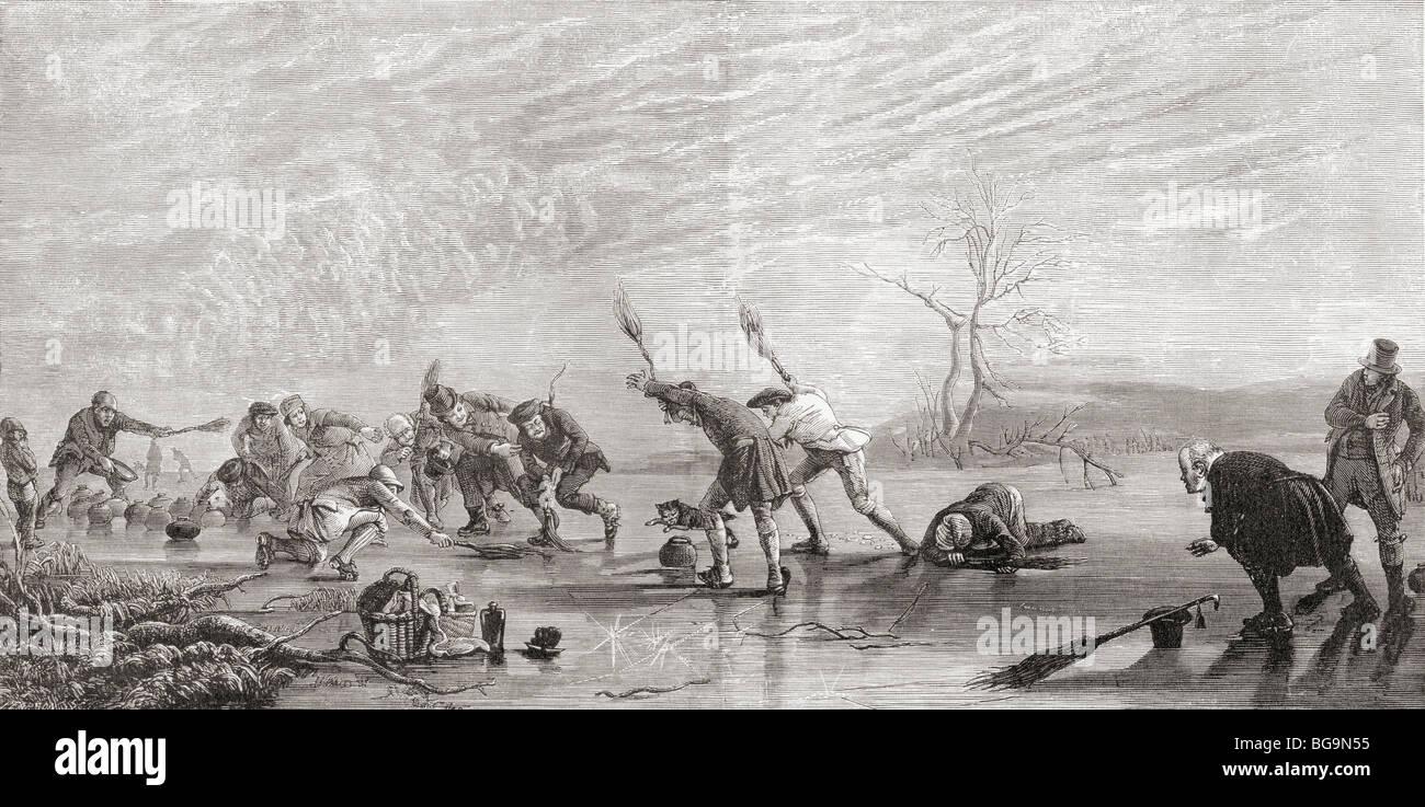 Il Curling nel XIX secolo. Immagini Stock
