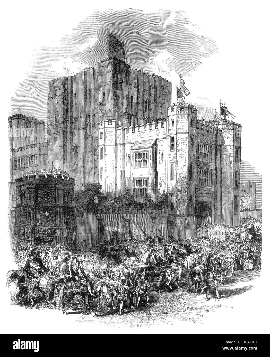 Illustrazione; l'arrivo della Regina Elisabetta I al Castello di Kenilworth 1572 Immagini Stock