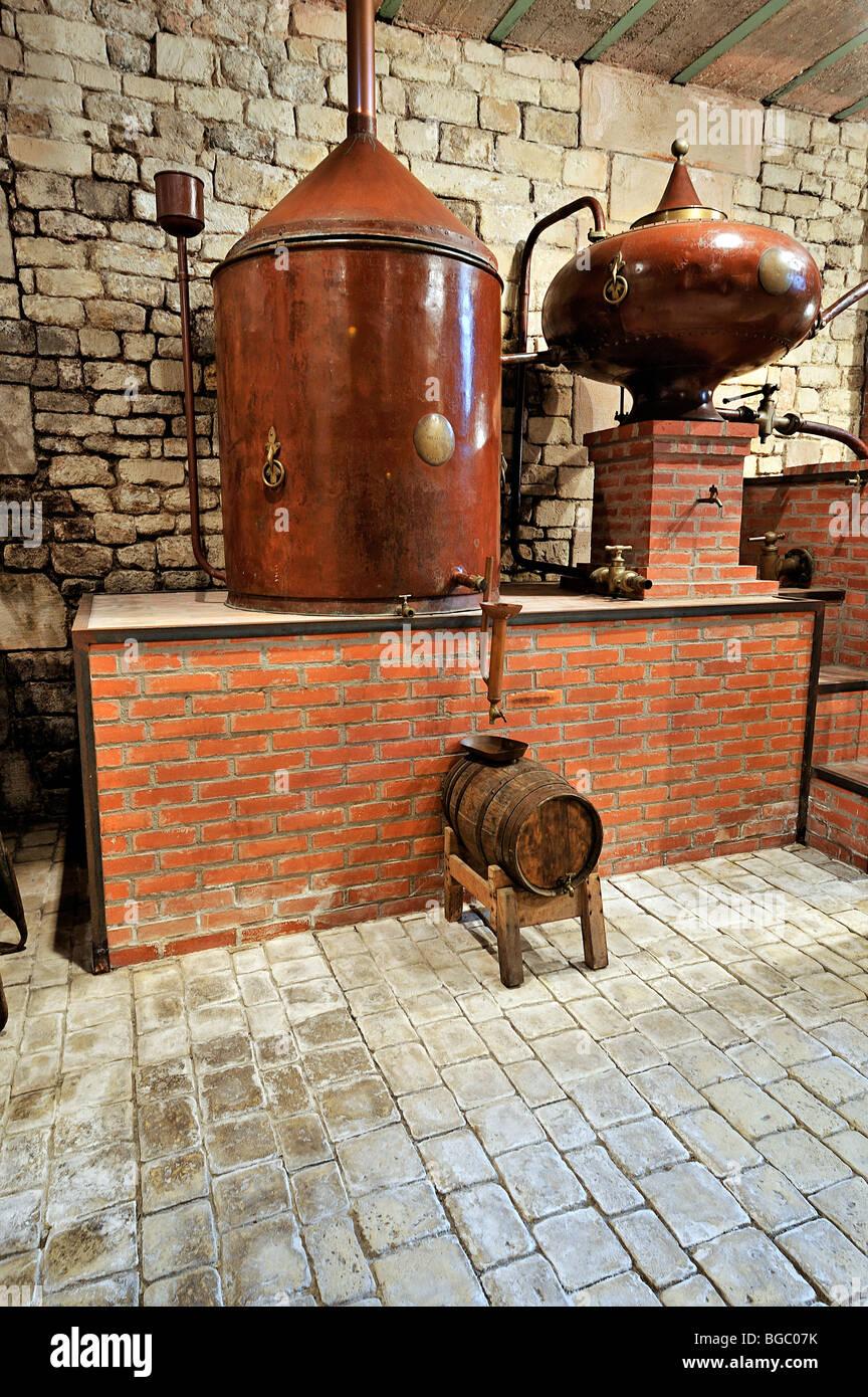 Alambic in rame per il Cognac, il Musee des commerces d'Autrefois, Rochefort, Francia. Foto Stock