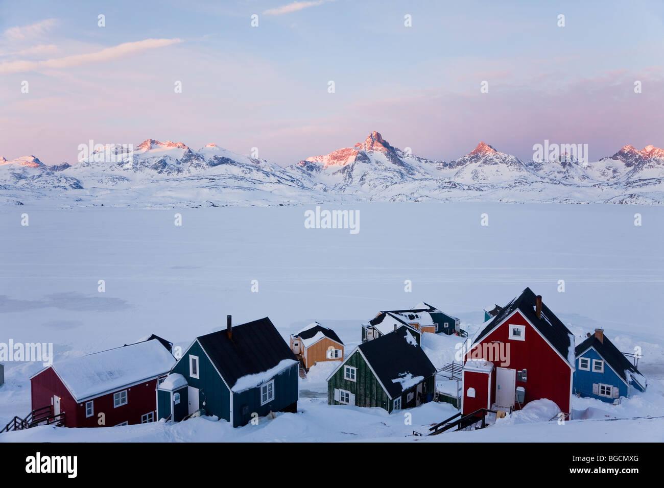 Tasiilaq, Groenlandia, inverno Immagini Stock