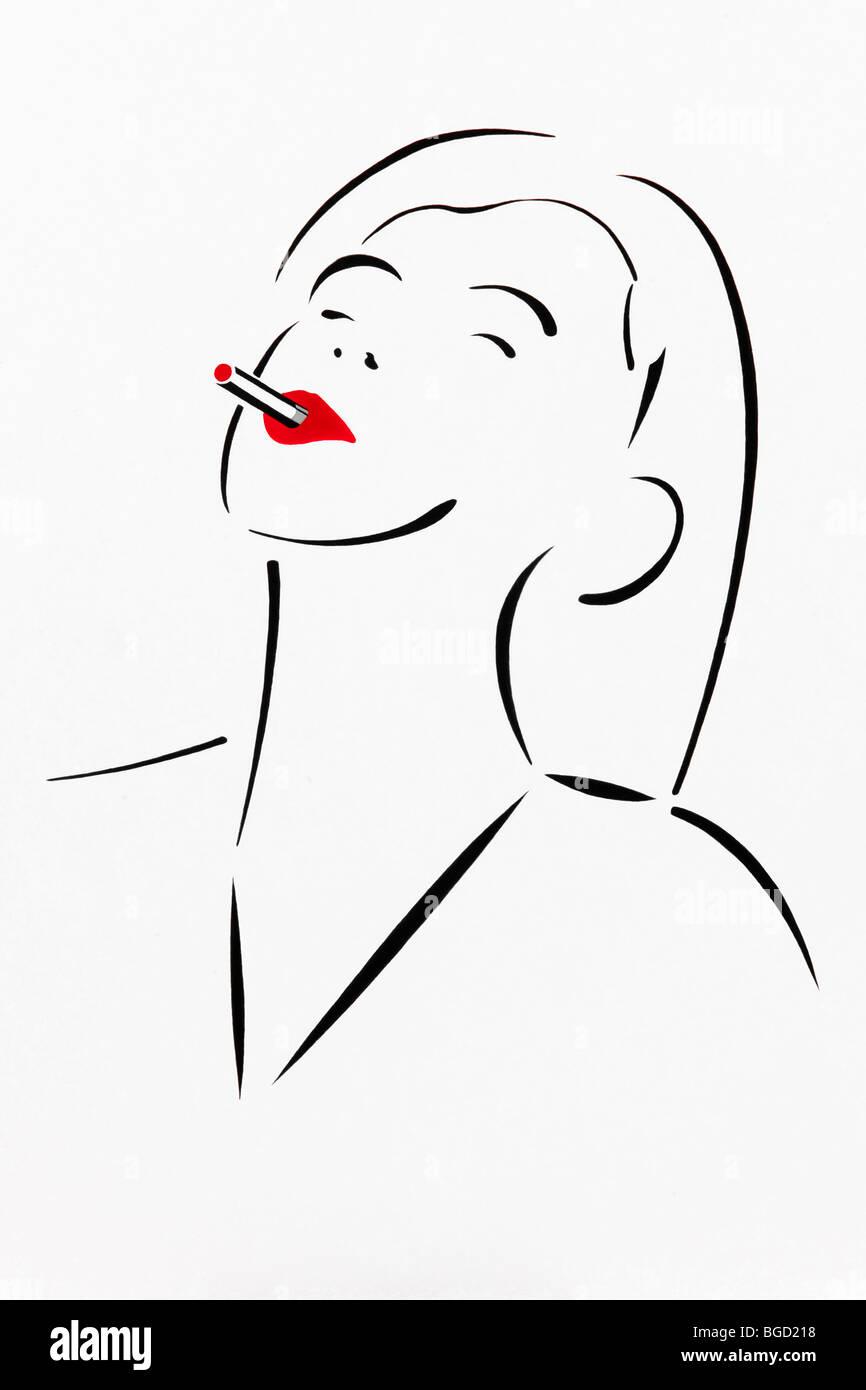 Donna Godendo Di Una Sigaretta Disegno Artista Gerhard Kraus