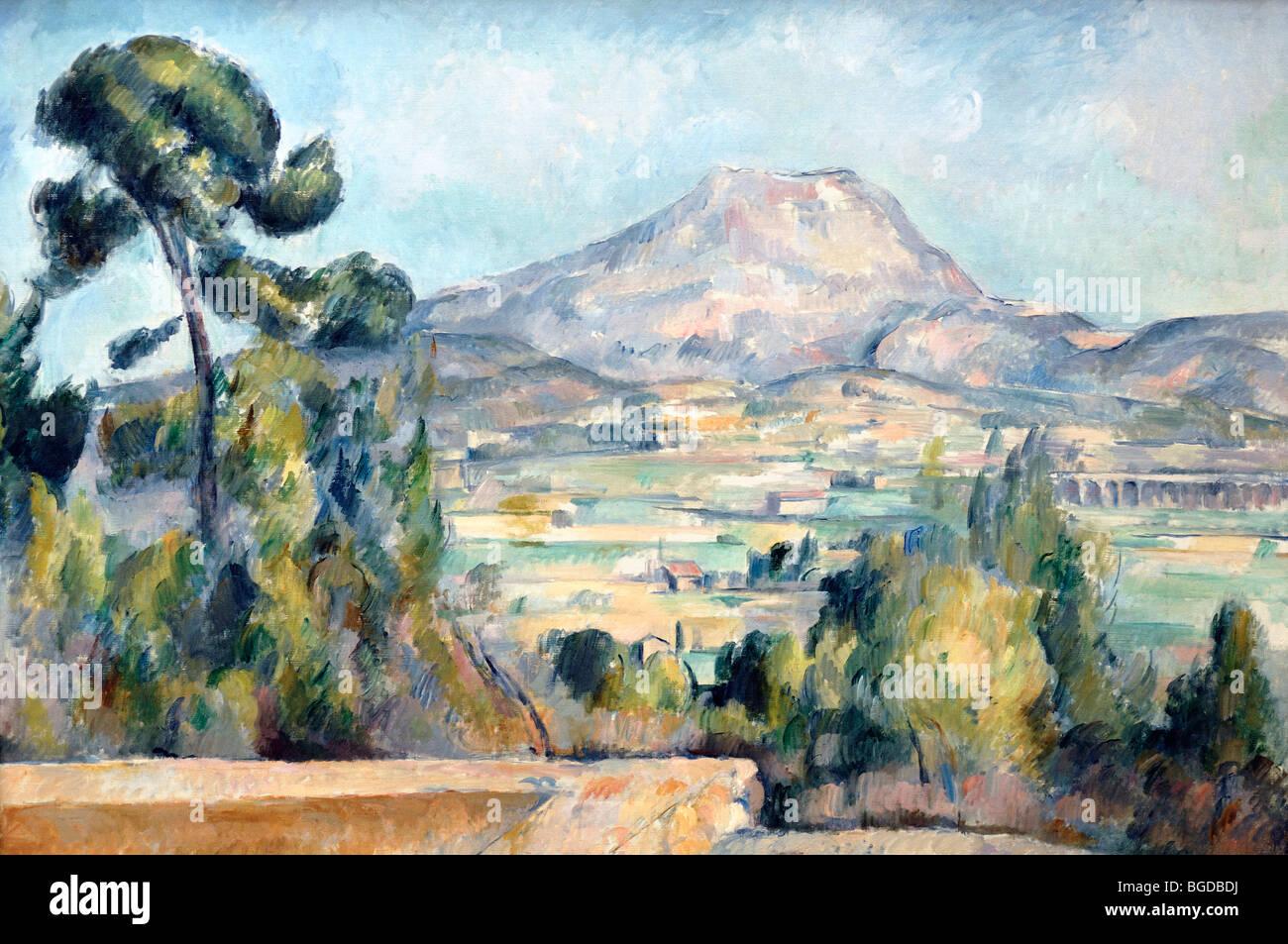 Montagne Sainte Victoire (c1890), o monte Sainte Victoire montagna vicino a Aix-en-Provence, pittura ad olio di Immagini Stock