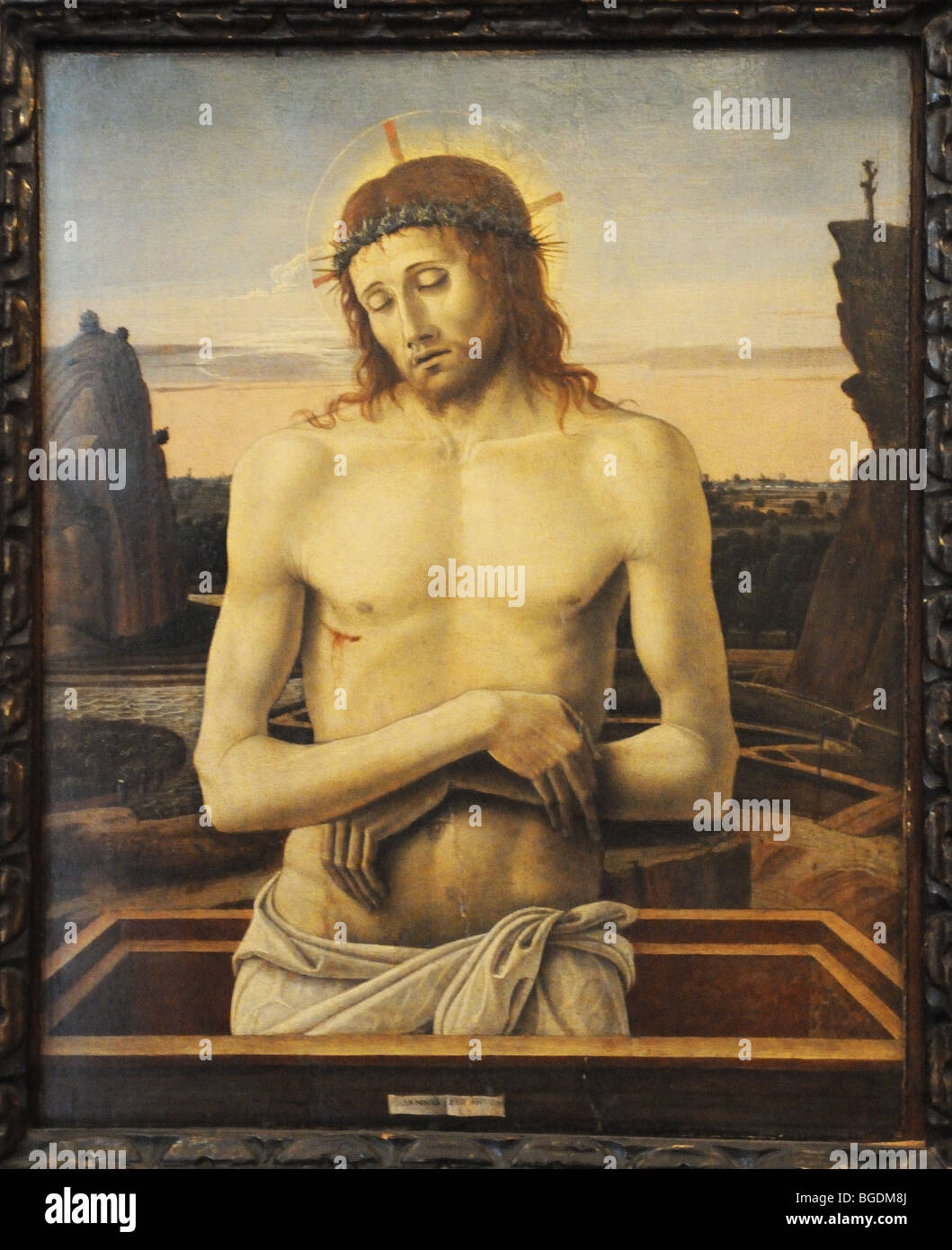 Pittura rinascimentale di Giovanni Bellini chiamato IMAGO PIETATIS nel Museo Poldi Pezzoli Milano Italia Museo Milano Immagini Stock