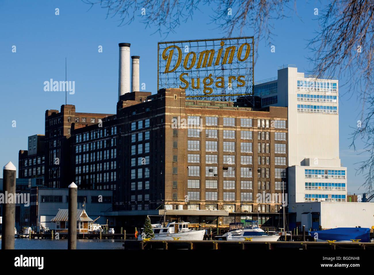 Domino fabbrica di zucchero Baltimore, Maryland, porto interno Immagini Stock