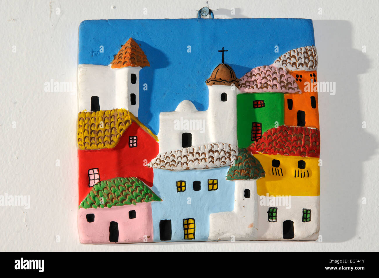 Placca in ceramica da Quito, Ecuador Immagini Stock