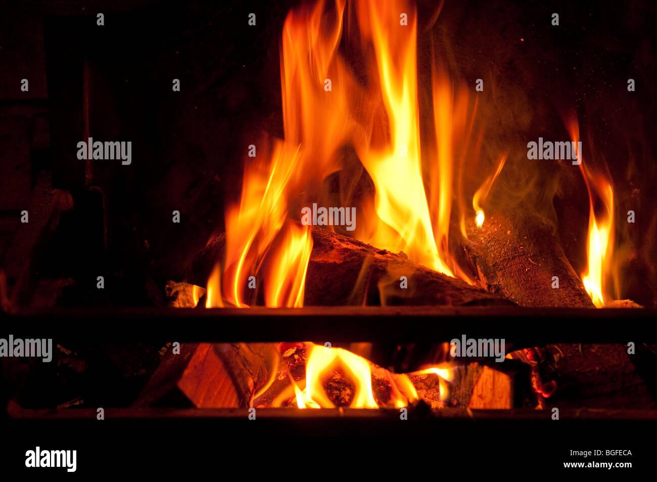 Un log e carbone fuoco ferocemente - brucia il carbonio / combustibili fossili. Immagini Stock