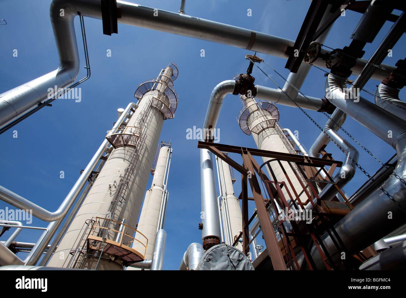 Tubazioni in un compressore di gas impianto Immagini Stock