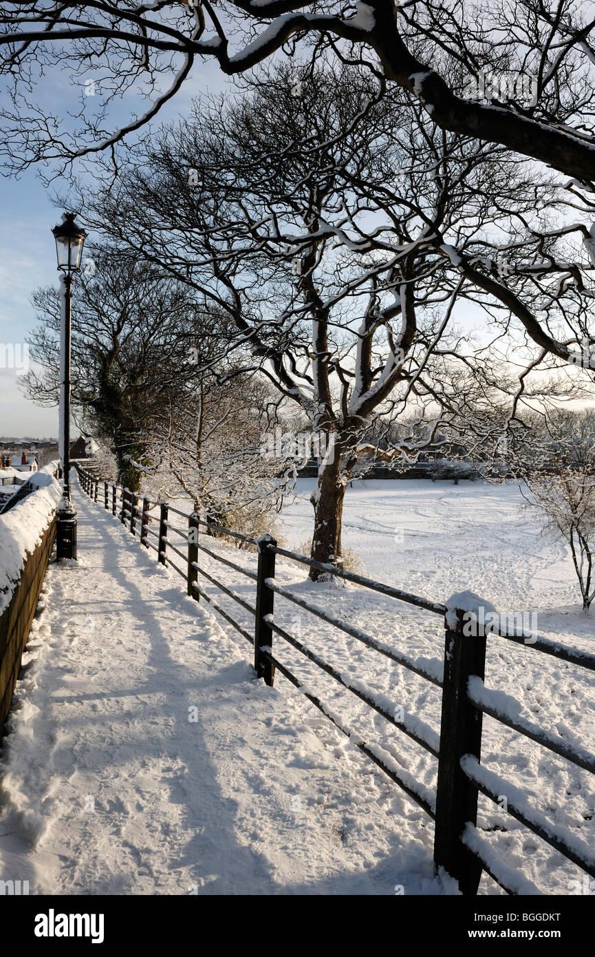 Chester pareti in snow Gennaio 2010 Immagini Stock