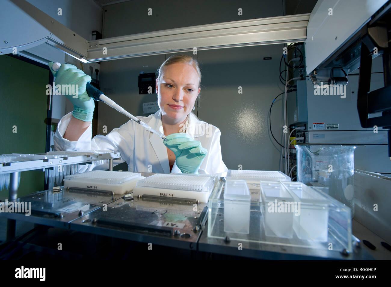 Femmina assistente di laboratorio utilizzando robot di pipettaggio Max-Planck-Istituto di genetica molecolare AG Foto Stock