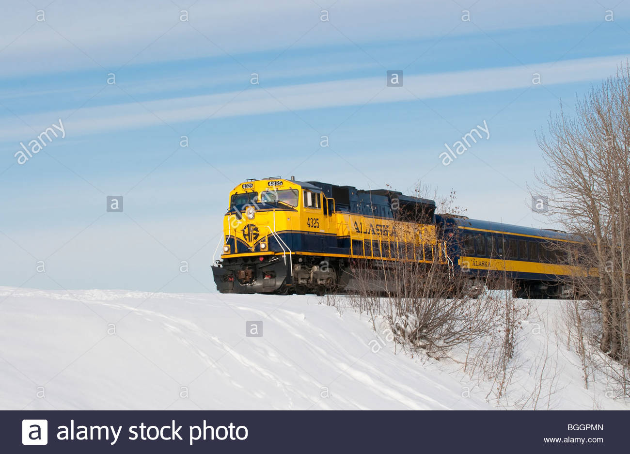 AKRR, Alaska Alaska Railroad treno motore in inverno Immagini Stock