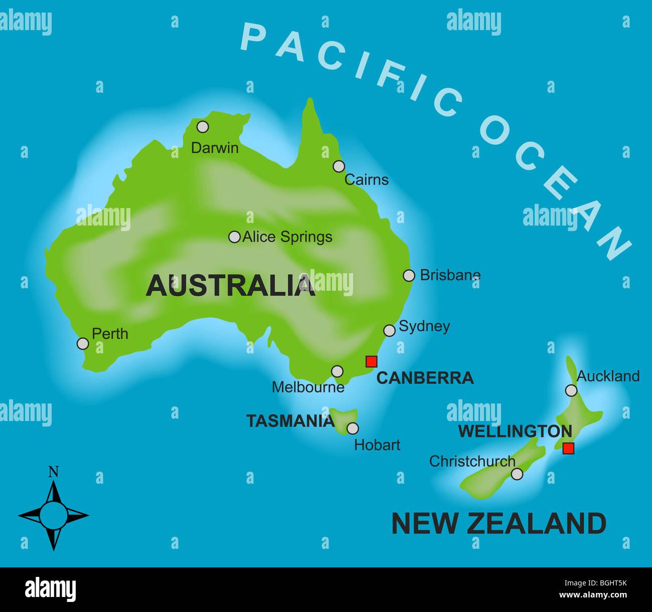 Cartina Geografica Australia E Nuova Zelanda.Una Mappa Stilizzata Che Mostra I Paesi Di Australia E Nuova