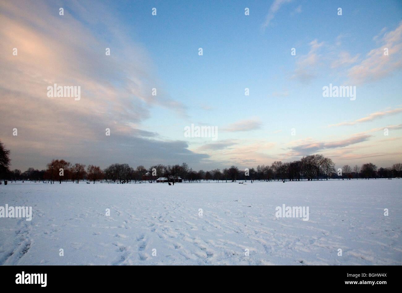 Clapham Common nella neve Immagini Stock