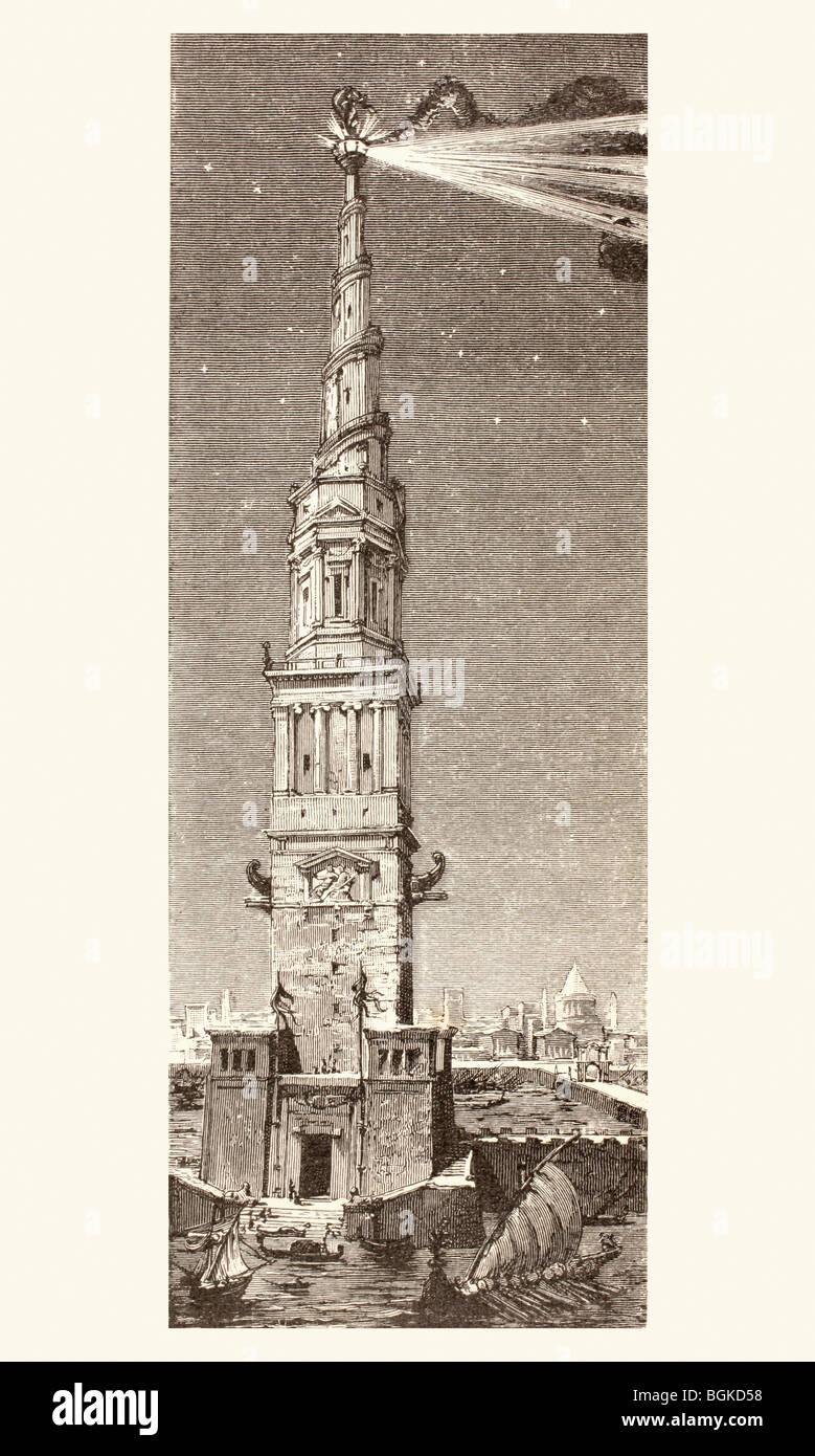 Il faro di isola Pharos, Alessandria, Egitto, dopo una fantasiosa del XIX secolo illustrazione. Una delle sette Immagini Stock