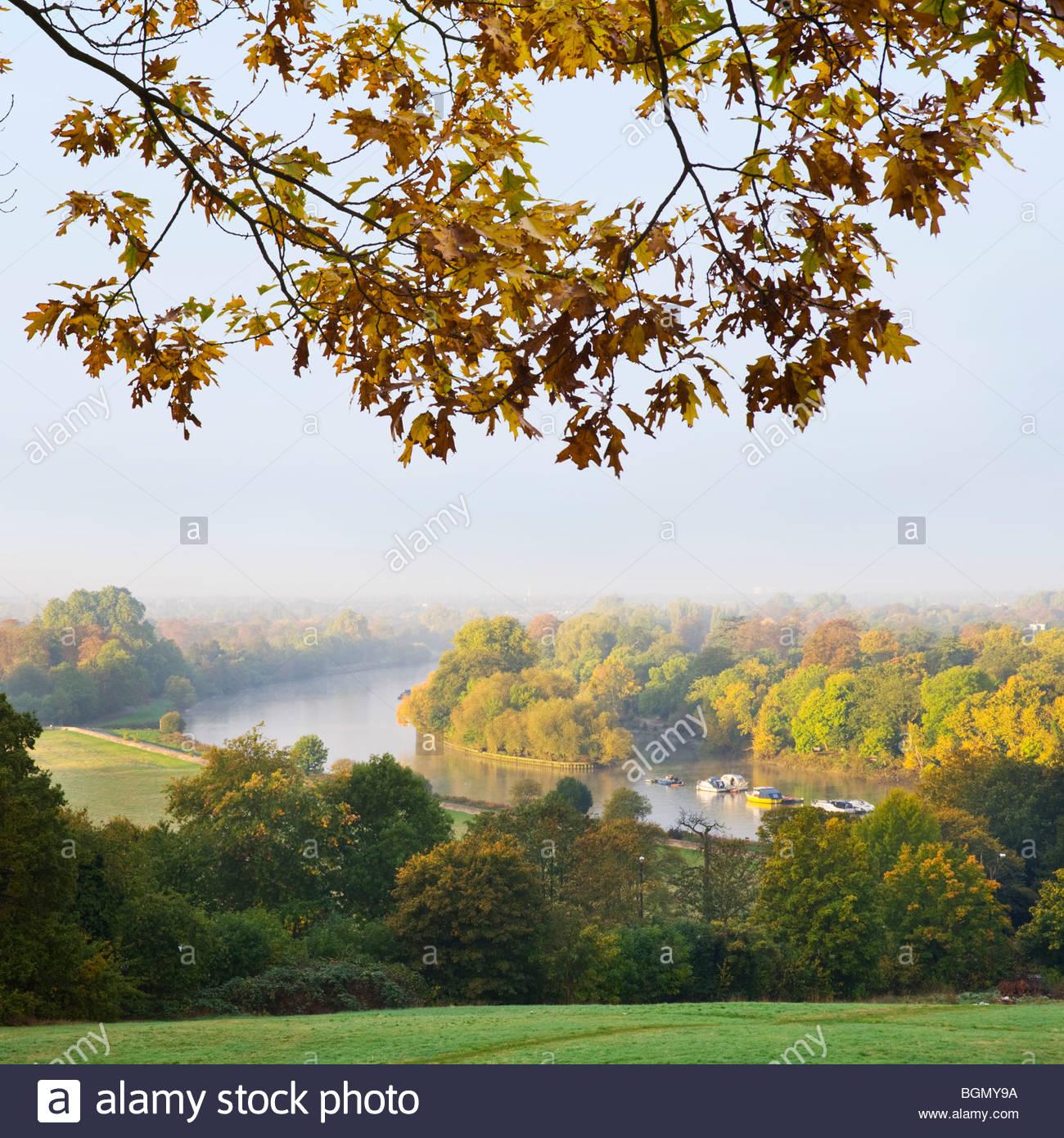 Il fiume il Tamigi da Richmond Hill, Surrey. Immagini Stock