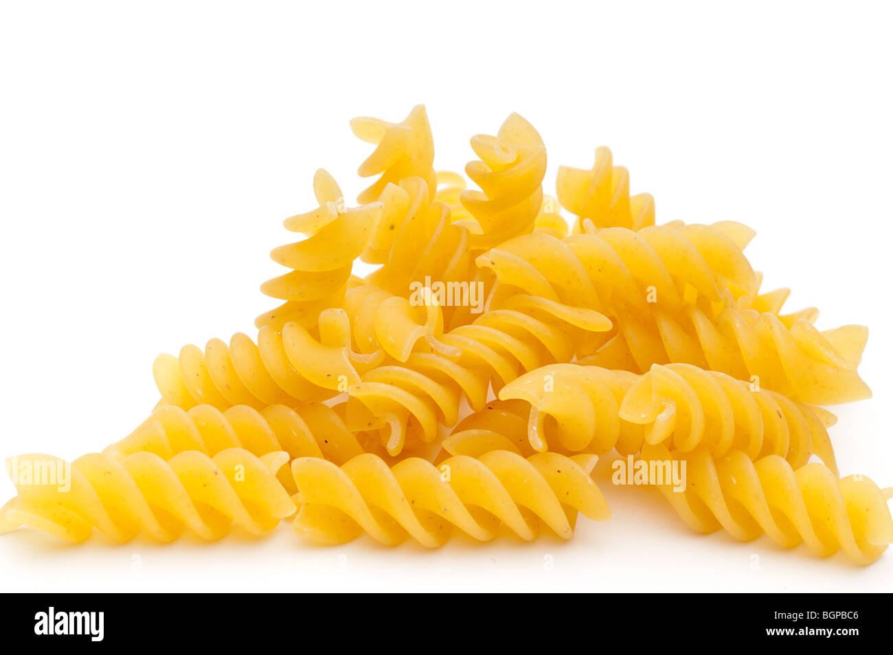 Shallow messa a fuoco ravvicinata di una pasta a spirale Immagini Stock
