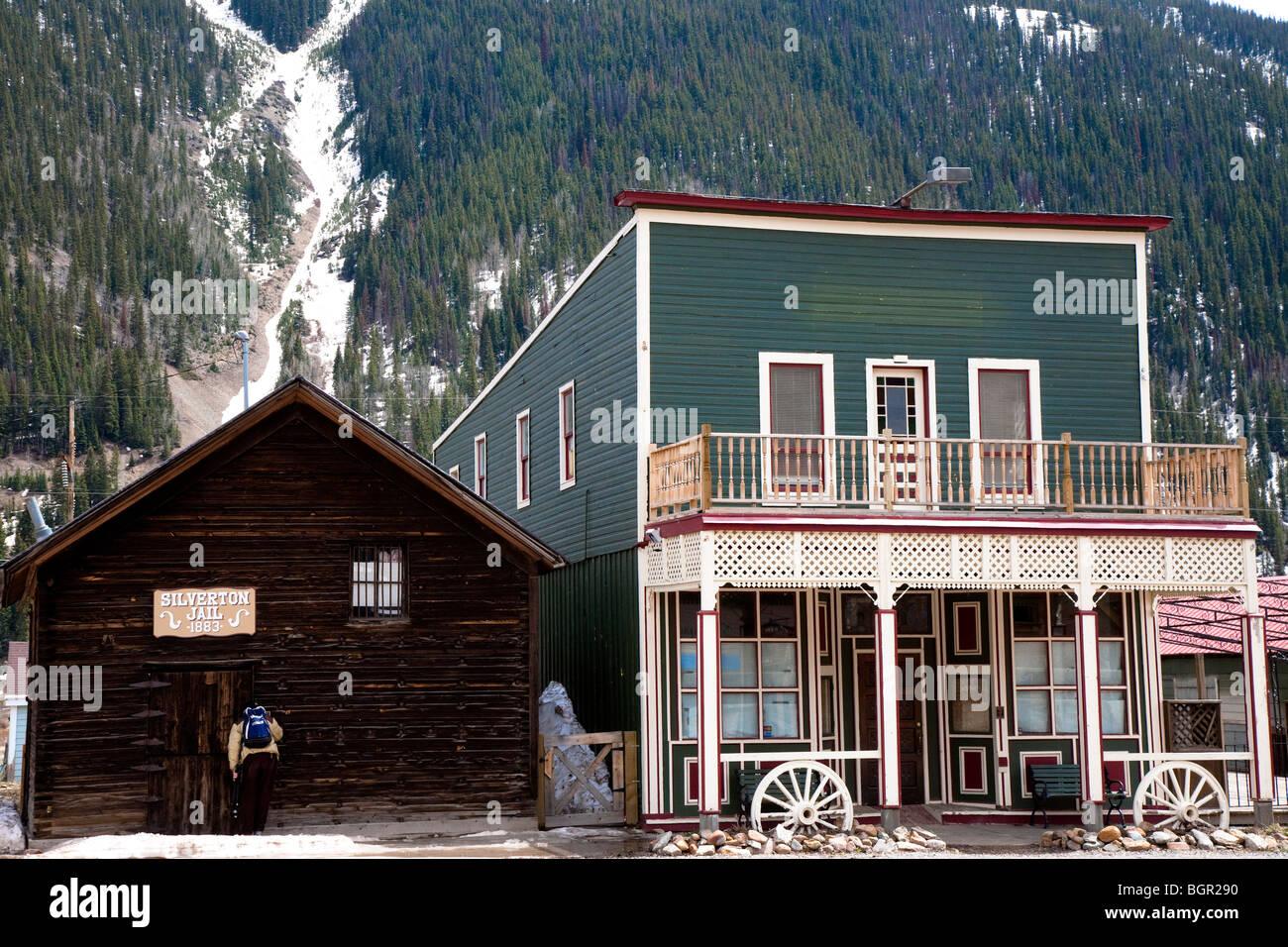 La vecchia San Juan County Jail house Silverton, old west città mineraria, San Juan County Colorado, STATI UNITI Foto Stock