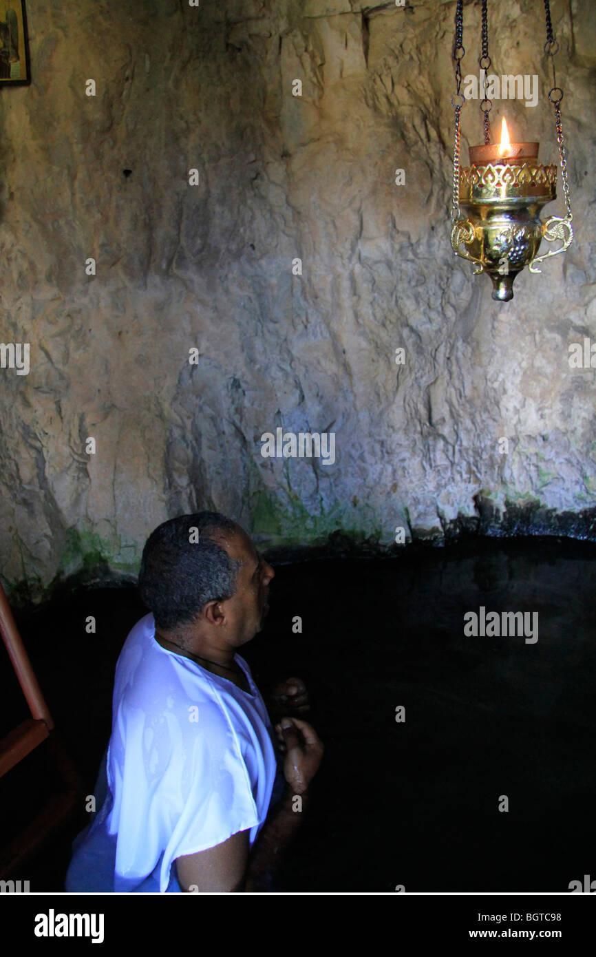 Israele, Gerusalemme montagne, il fonte battesimale del monastero di San Giovanni nel deserto Immagini Stock