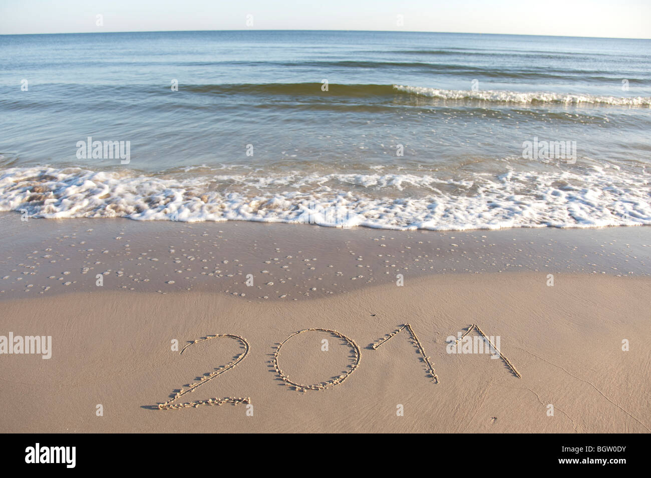 Testo scritto in spiaggia Foto Stock