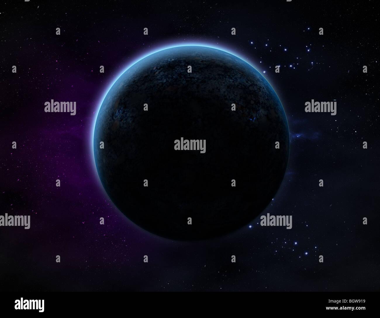 Un pianeta con candelette nello spazio esterno con un sacco di star e viola/blue haze. Immagini Stock