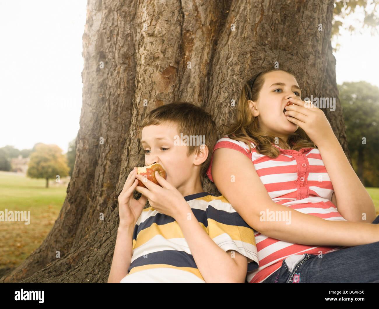 Un ragazzo e una ragazza a mangiare le mele contro tree Immagini Stock