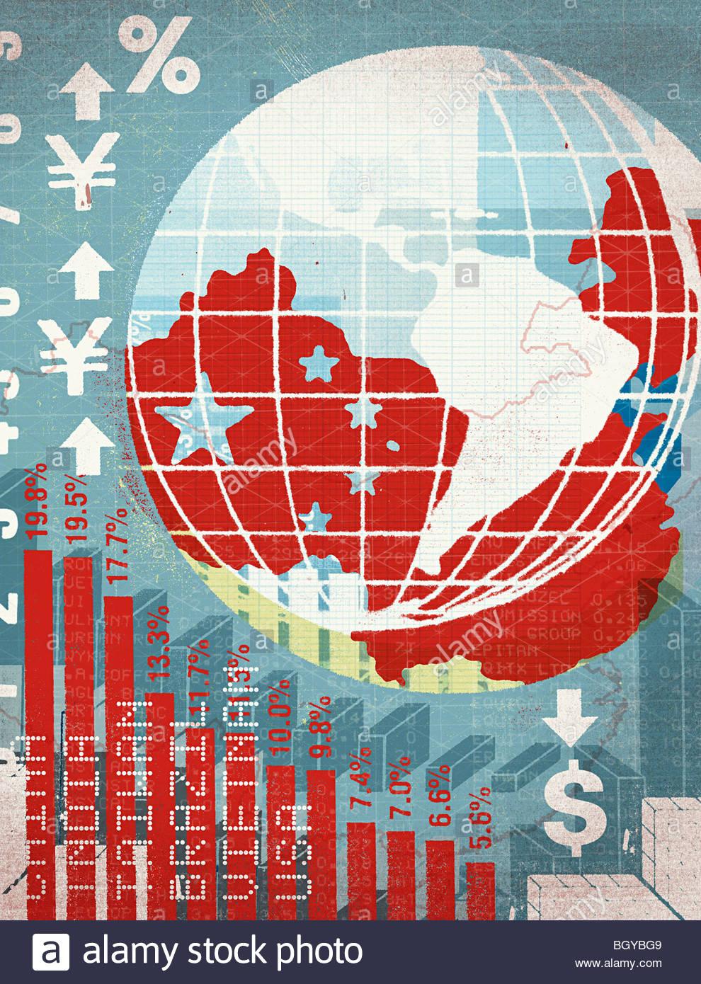 Globo e internazionale, grafico finanziario Immagini Stock