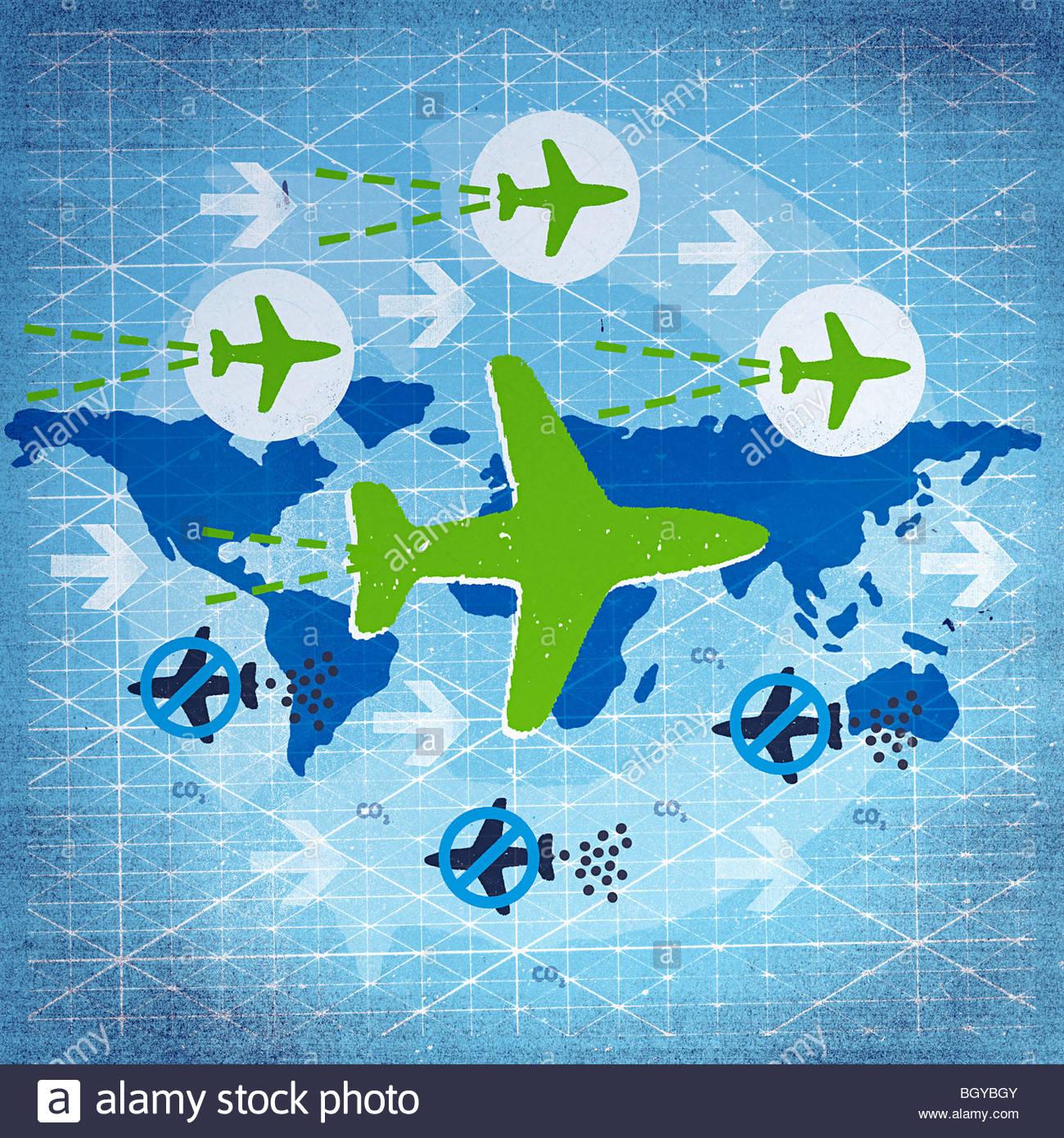 Gli aerei sorvolano globe Immagini Stock