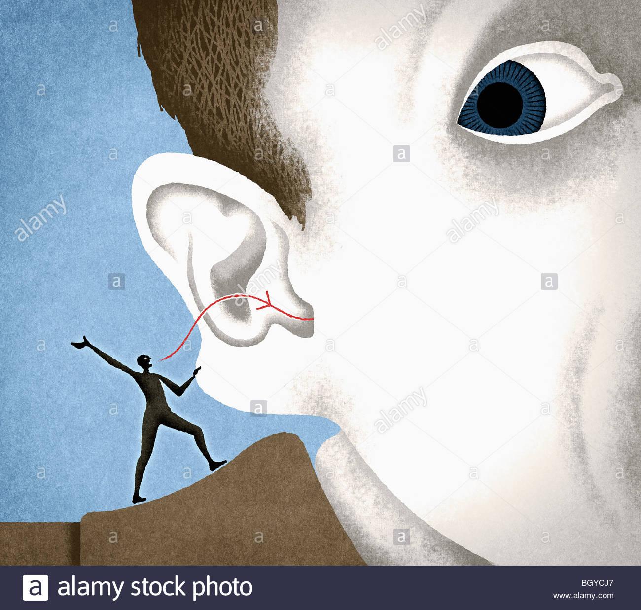 Coscienza whispering nell uomo l orecchio Immagini Stock