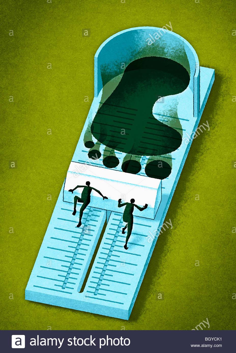 Gli uomini footprint di misurazione Immagini Stock