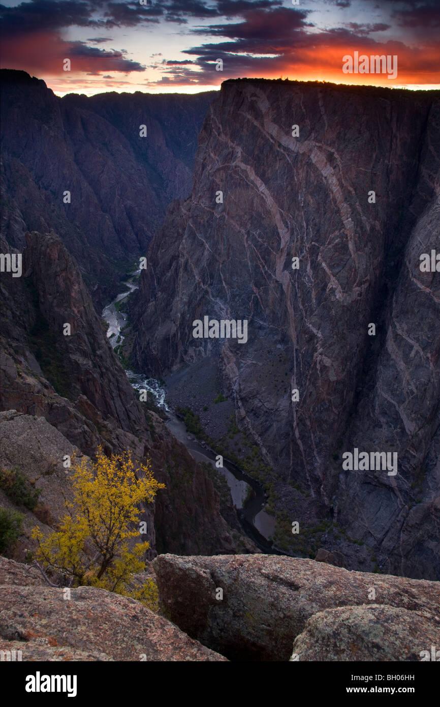 Parete dipinta, Canyon Nero del Parco nazionale del Gunnison, Colorado. Immagini Stock