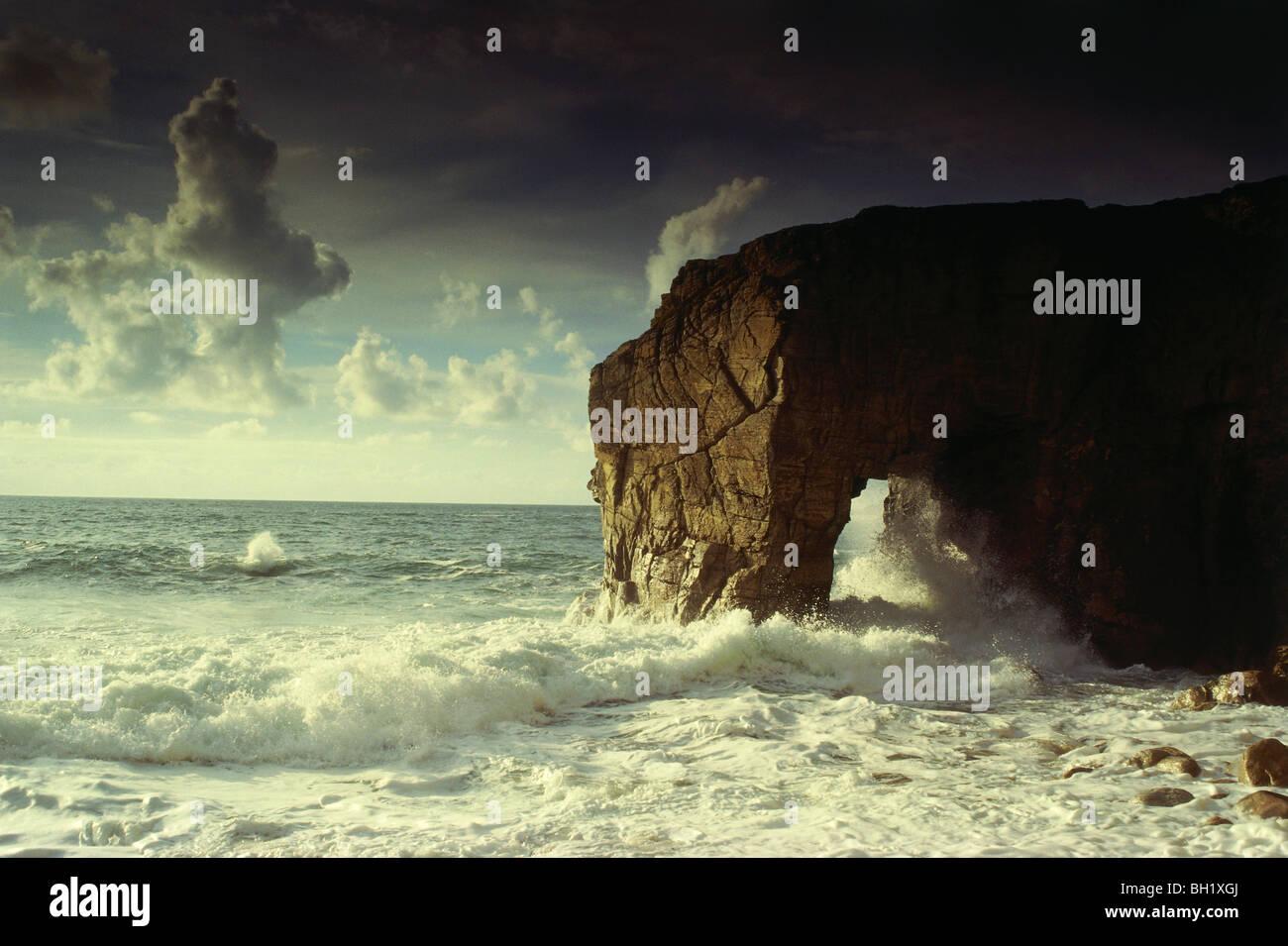 La penisola, Quiberon, Cote Sauvage, Bretagne, Frankreich Immagini Stock